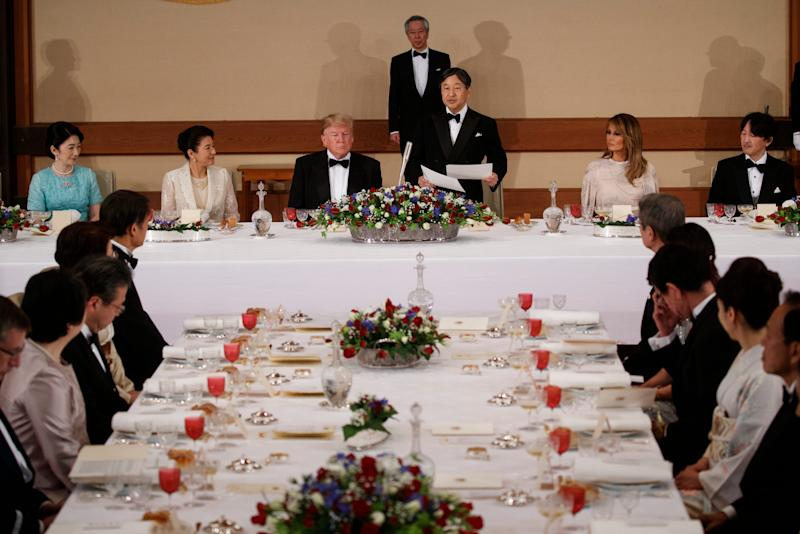 Japanese Emperor Naruhito speaks during a State Banquet attended by President Donald Trump and first lady Melania Trump at the Imperial Palace, Monday, May 27, 2019, in Tokyo.