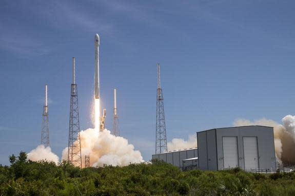On July 14, 2014, SpaceX tweeted a photo of its Falcon 9 rocket lifting off carrying ORBCOMM satellites from Cape Canaveral Air Force Station, Florida.