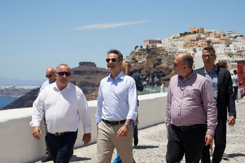 Greek PM Mitsotakis visits the island of Santorini