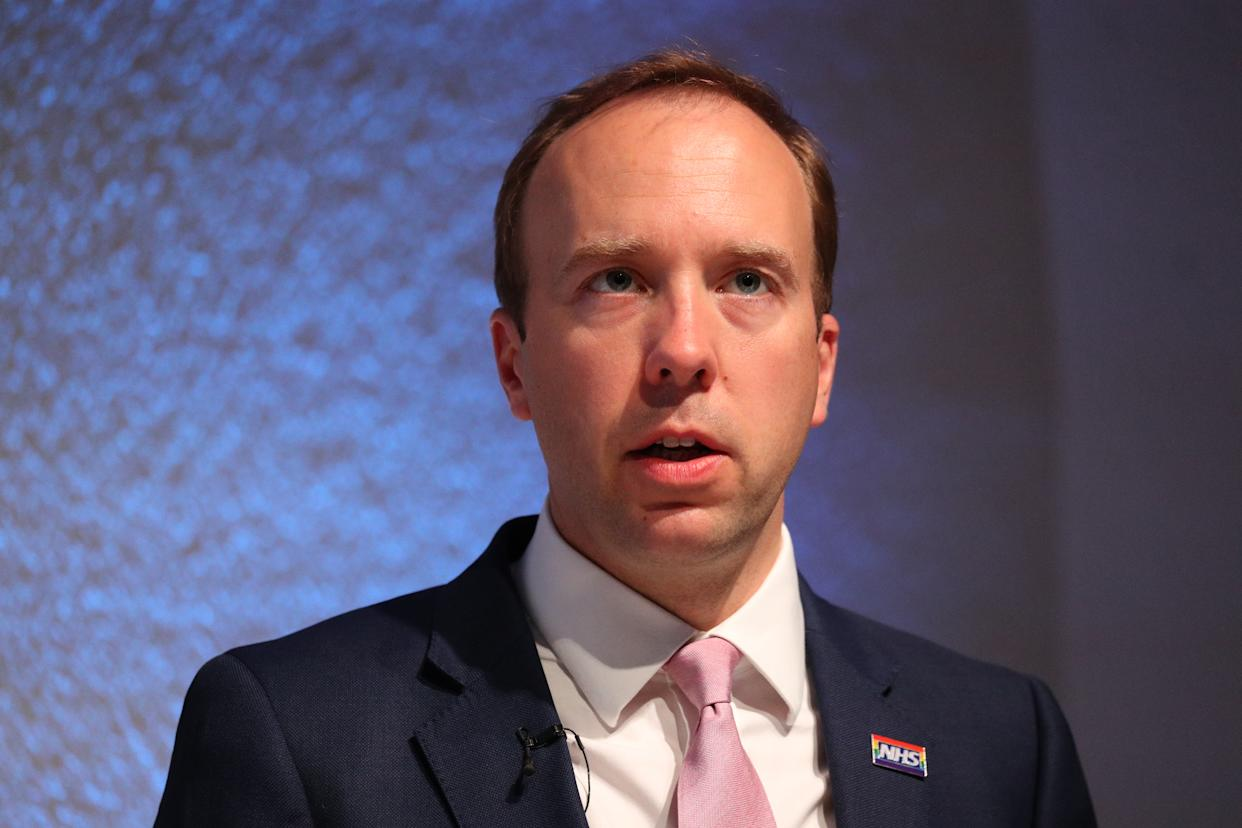 Health Secretary Matt Hancock delivers a speech on the future of the NHS at the Royal College of Physicians in central London. (Photo by Jonathan Brady/PA Images via Getty Images)
