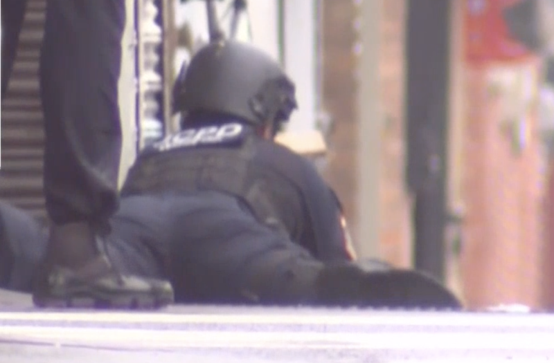 An officer during the operation on Tuesday (local time). Source: NBC