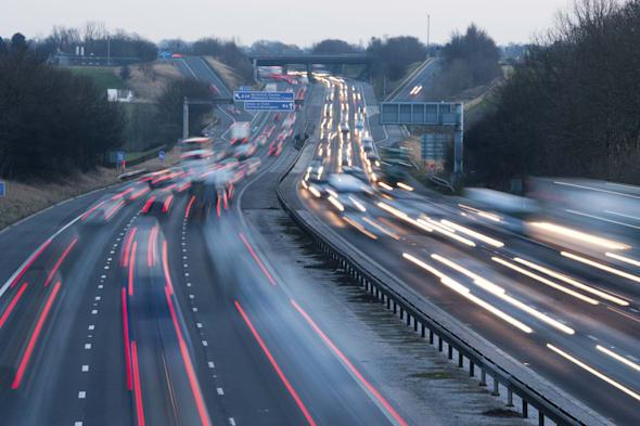 Heavy traffic on the M6 motorway in North West England