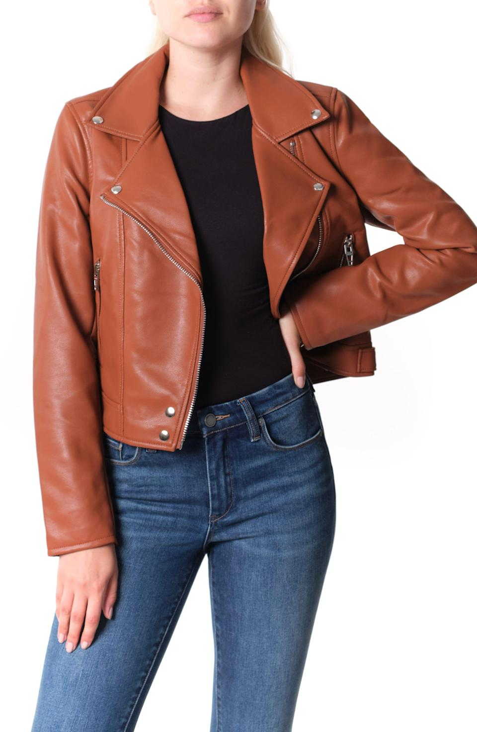 """<p><strong>BLANKNYC</strong></p><p>nordstrom.com</p><p><strong>$56.90</strong></p><p><a href=""""https://go.redirectingat.com?id=74968X1596630&url=https%3A%2F%2Fwww.nordstrom.com%2Fs%2Fblanknyc-good-vibes-faux-leather-moto-jacket%2F5573688&sref=https%3A%2F%2Fwww.townandcountrymag.com%2Fstyle%2Ffashion-trends%2Fg33595537%2Fnordstrom-anniversary-sale-2020-womens-clothing%2F"""" rel=""""nofollow noopener"""" target=""""_blank"""" data-ylk=""""slk:Shop Now"""" class=""""link rapid-noclick-resp"""">Shop Now</a></p><p><em>Originally: $98</em></p>"""