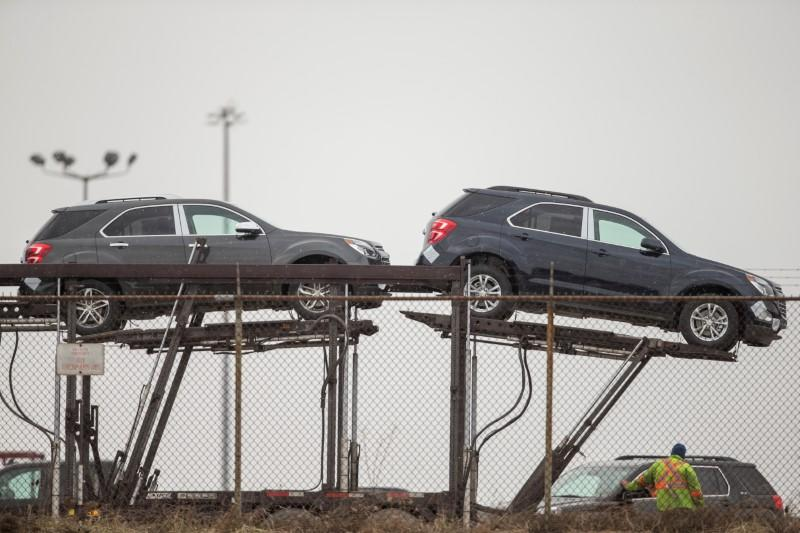 FILE PHOTO: Several GMC Terrain are prepared to be shipped from the General Motors CAMI car assembly plant, where the GMC Terrain and Chevrolet Equinox are built, in Ingersoll