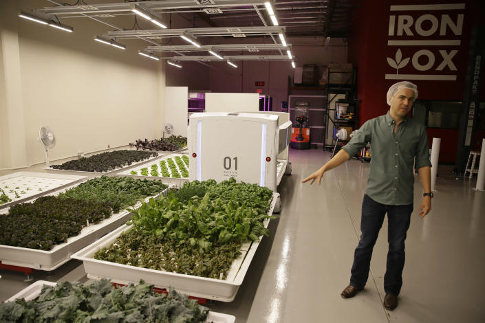In this Thursday, Sept. 27, 2018, photo Iron Ox CEO Brandon Alexander gives a tour at his robotic indoor farm in San Carlos, Calif. Alexander spent a lot of time working his family's farm in Oklahoma before he headed off to the University of Texas to study robotics. After graduating, he moved to Silicon Valley, where he is returning to his roots by building robot farmers that roll maneuver through a suburban warehouse tending to rows of leafy, colorful vegetables that will soon be filling salad bowls in restaurants and eventually may be in supermarket produce aisles, too. (AP Photo/Eric Risberg)