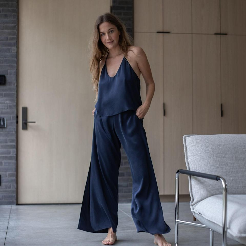 """<p>This Lunya Washable Silk Cami Pants Set is as elegant as it is comfortable. The breezy, washable silk pairing, which comes in several colors, looks chic enough to wear for an evening out, but it has clever features that make relaxing at home especially sophisticated: adjustable straps, convenient pockets, and thermoregulating material to keep you comfortable.</p> <p><strong>Sizes available:</strong> XS to XL</p> <p><strong>$238</strong> (<a href=""""https://shareasale.com/m-pr.cfm?merchantid=85255&userid=2072218&productid=1191347063&afftrack=BestLoungewearSets"""" rel=""""nofollow noopener"""" target=""""_blank"""" data-ylk=""""slk:Shop Now"""" class=""""link rapid-noclick-resp"""">Shop Now</a>)</p>"""
