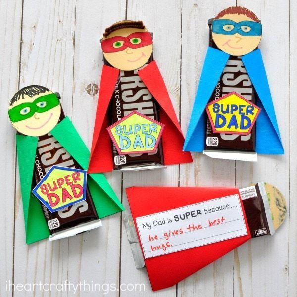 """<p>Decorate an otherwise plain candy bar with these adorable superhero outfits for each family member. </p><p><strong><em>Get the tutorial at <a href=""""https://iheartcraftythings.com/super-dad-fathers-day-gift.html"""" rel=""""nofollow noopener"""" target=""""_blank"""" data-ylk=""""slk:I Heart Crafty Things"""" class=""""link rapid-noclick-resp"""">I Heart Crafty Things</a>.</em></strong></p>"""