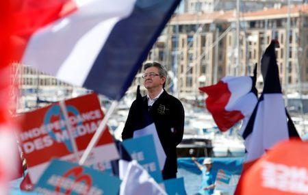 Jean-Luc Melenchon of the French far left Parti de Gauche and candidate for the 2017 French presidential election delivers a speech during a political rally in Marseille