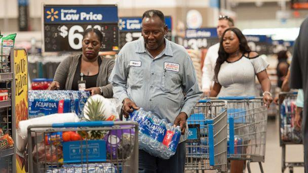 PHOTO: Florida residents stock up with groceries and water in preparation for Hurricane Dorian, in Fort Lauderdale, Fla., Aug. 28, 2019. (Orit Ben-Ezzer/ZUMA Press)