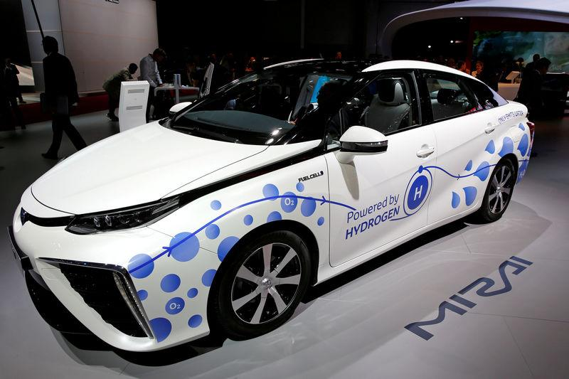 FILE PHOTO - The Toyota Mirai, an hydrogen fuel cell vehicle, is displayed on media day at the Paris auto show, in Paris