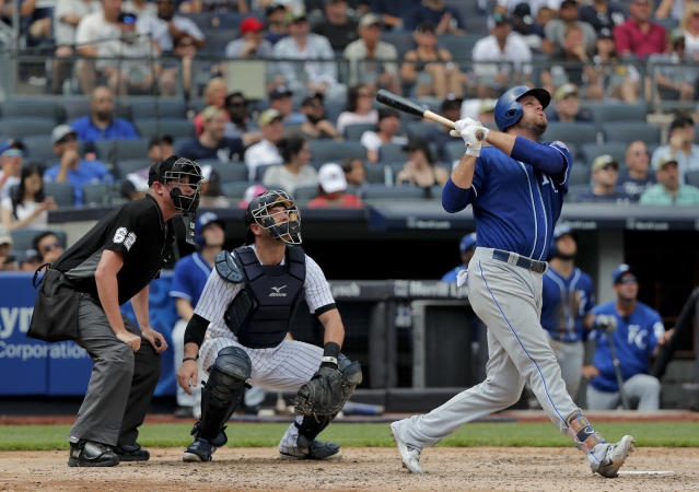Kansas City Royals' Lucas Duda connects for a two-run home run against the New York Yankees during the fifth inning of a baseball game, Saturday, July 28, 2018, in New York. (AP Photo/Julie Jacobson)