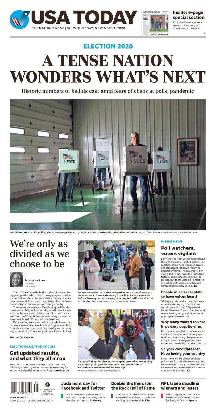 "USA TODAY, Published in McLean, Va. USA (Courtesy <a href=""https://www.newseum.org/todaysfrontpages/"" rel=""nofollow noopener"" target=""_blank"" data-ylk=""slk:Newseum"" class=""link rapid-noclick-resp"">Newseum</a>)"