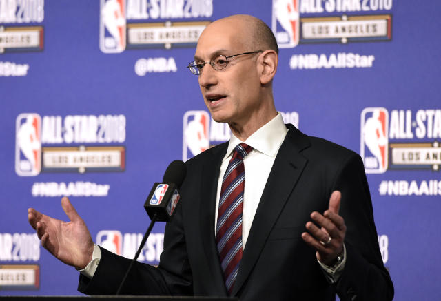On a day filled with headlines crossing over sports with social issues, NBA commissioner Adam Silver urged his peers to not stick to sports. (AP)