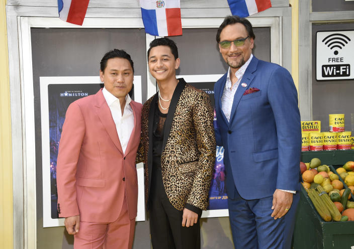 """Director Jon M. Chu, left, actor Gregory Diaz IV and actor Jimmy Smits pose together at the 2021 Tribeca Film Festival opening night premiere of """"In The Heights"""" at the United Palace theater on Wednesday, June 9, 2021, in New York. (Photo by Evan Agostini/Invision/AP)"""