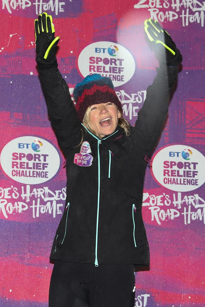 Fundraising: Zoe Ball completing her Sport Relief cycle (Victoria Dawe/Sport Relief/PA )