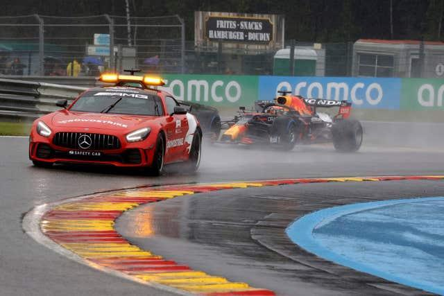 The safety car leads at a rain-hit Spa-Francorchamps