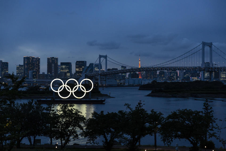 TOKYO, JAPAN - JUNE 03: The Olympic Rings are displayed by the Odaiba Marine Park Olympic venue on June 03, 2021 in Tokyo, Japan. Tokyo 2020 president Seiko Hashimoto has stated that she is 100 percent certain that the Olympics will go ahead despite widespread public opposition as Japan grapples with a fourth wave of coronavirus. The Japanese organising committee also announced yesterday that around 10,000 of the 80,000 volunteers originally scheduled to help at the Games have withdrawn as concern continues to surround the country's ability to hold a huge sporting event amid a global pandemic. (Photo by Yuichi Yamazaki/Getty Images)
