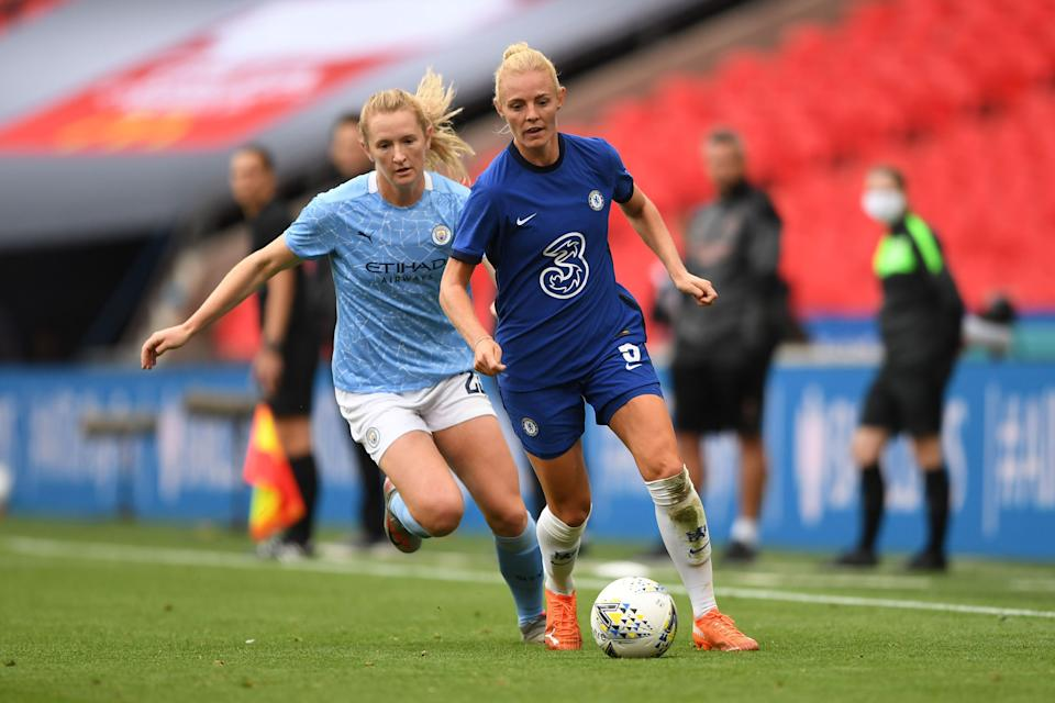 USWNT star Sam Mewis (left) and Manchester City will go toe-to-toe with Sophie Ingle and Chelsea in the FAWSL this season as the league continues to grow. (Photo by Harriet Lander - Chelsea FC/Chelsea FC via Getty Images)