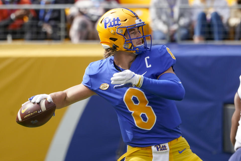 Pittsburgh quarterback Kenny Pickett (8) plays against New Hampshire during an NCAA college football game, Saturday, Sept. 25, 2021, in Pittsburgh. (AP Photo/Keith Srakocic)