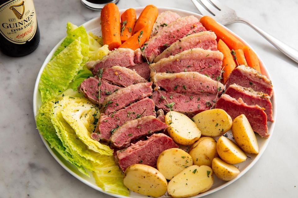 """<p>Just as good as the slow cooker, but prepped the classic way. </p><p>Get the recipe from <a href=""""https://www.delish.com/cooking/recipe-ideas/a26256517/corned-beef-and-cabbage-recipe/"""" rel=""""nofollow noopener"""" target=""""_blank"""" data-ylk=""""slk:Delish"""" class=""""link rapid-noclick-resp"""">Delish</a>.</p>"""