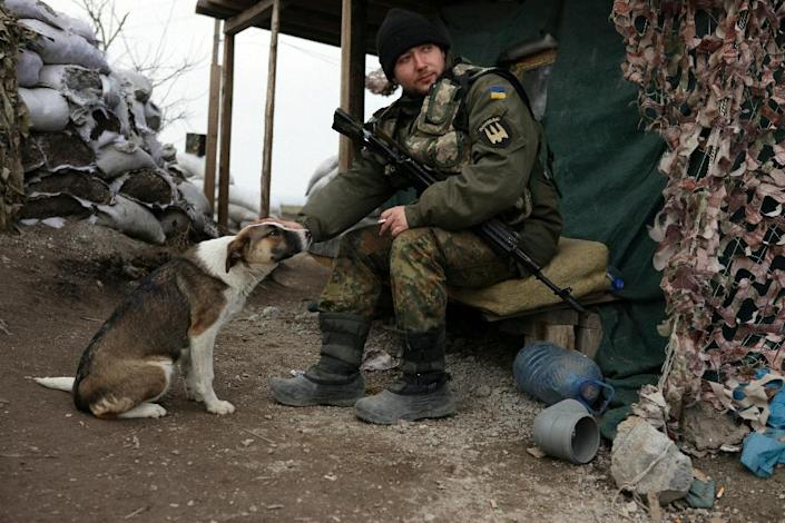 A Ukrainian serviceman strokes his dog as he guards a checkpoint near the port city of Mariupol which remains Kiev's main stronghold in the conflict zone in Donetsk region (AFP Photo/Aleksey Filippov)