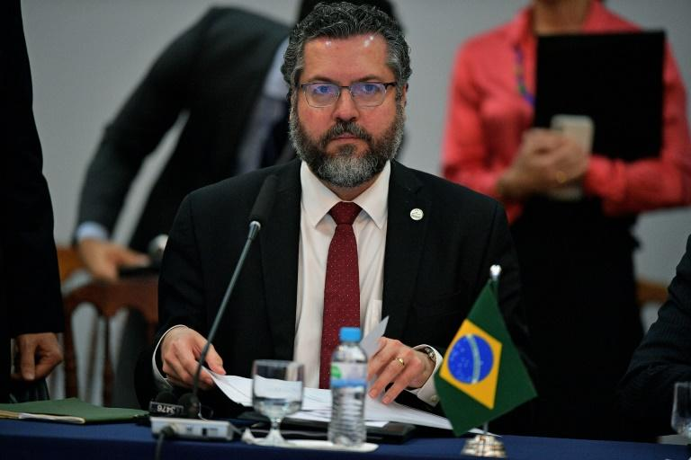 Brazil's Foreign Minister Ernesto Araujo pictured at the opening of a two-day Mercosur meeting in Bento Goncalves, Brazil (AFP Photo/CARL DE SOUZA)