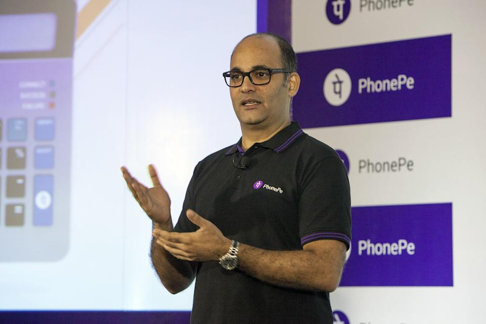 Sameer Nigam, co-founder and chief executive officer of PhonePe, speaks during a product unveiling in Bengaluru, India, on Tuesday, Oct. 31, 2017. Phone Pe is the digital payments unit of Flipkart Online Services Pvt, India's biggest online retailer. Photographer: Samyukta Lakshmi/Bloomberg via Getty Images