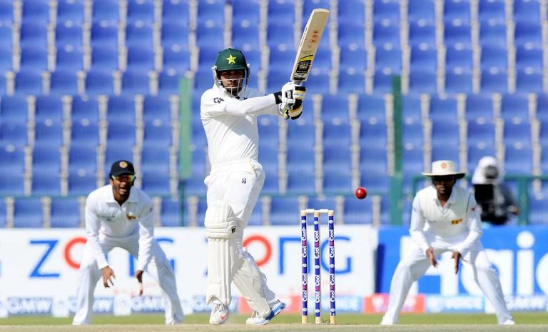Pakistan batsman Mohammad Hafeez plays a shot during the final day of the first cricket Test match between Pakistan and Sri Lanka at the Sheikh Zayed Stadium in Abu Dhabi on January 4, 2014. AFP PHOTO/Ishara S. KODIKARA