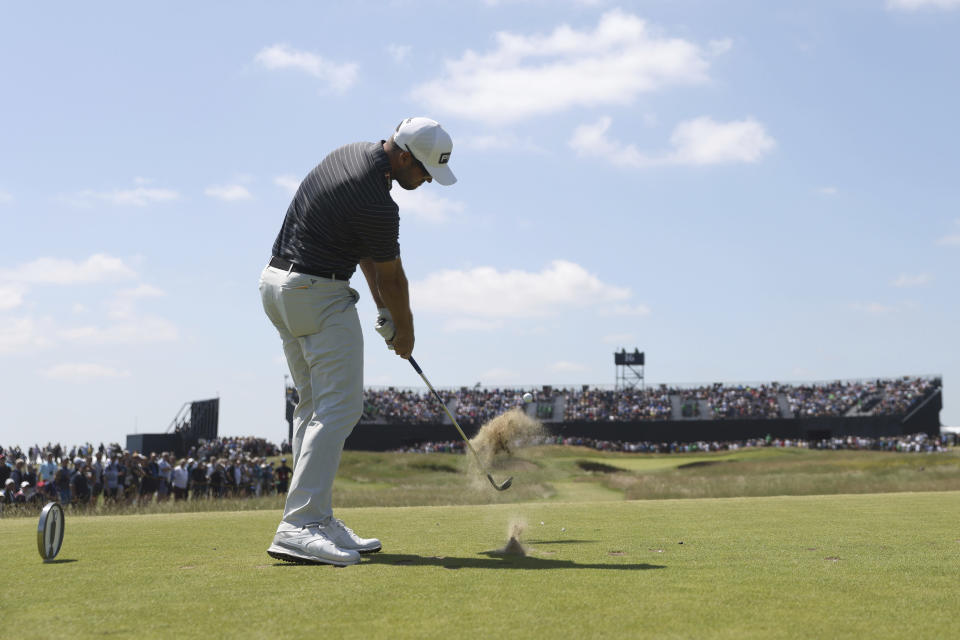 Canada's Corey Conners tees off from the 16th hole during the second round of the British Open Golf Championship at Royal St George's golf course Sandwich, England, Friday, July 16, 2021. (AP Photo/Peter Morrison)