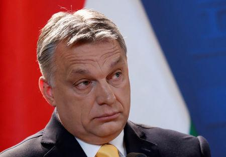 FILE PHOTO: Hungarian Prime Minister Viktor Orban speaks during a press conference in Budapest