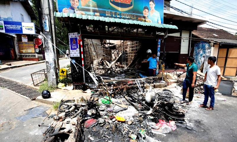 A fire-gutted business establishment in Sri Lanka after a state of emergency was declared in March 2018.