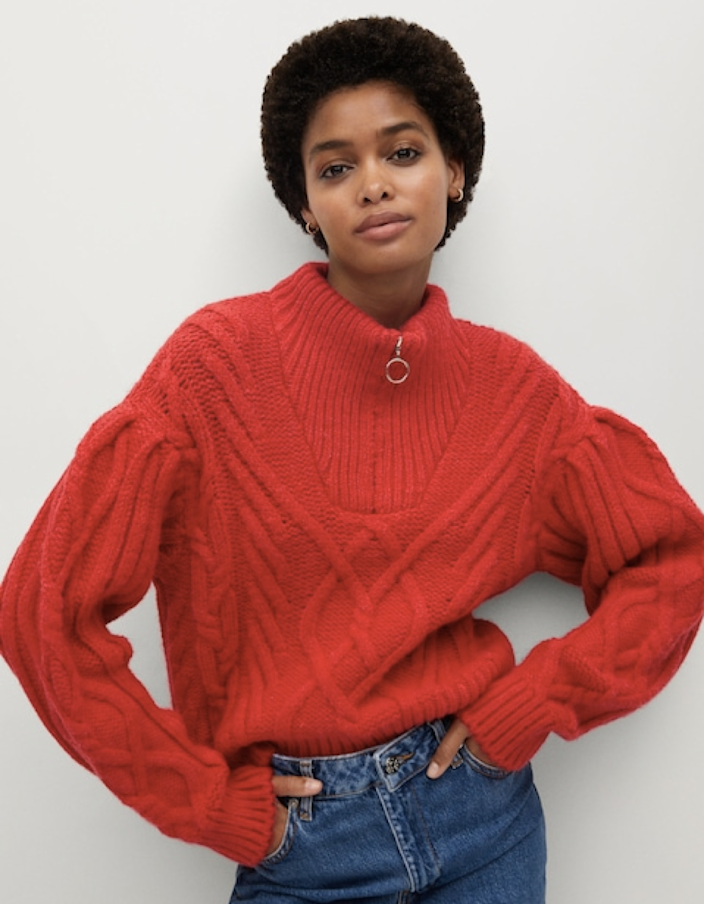 "Pair this cable-knit sweater with <a href=""https://www.glamour.com/gallery/best-high-waisted-jeans?mbid=synd_yahoo_rss"" rel=""nofollow noopener"" target=""_blank"" data-ylk=""slk:high-waist jeans"" class=""link rapid-noclick-resp"">high-waist jeans</a> for an effortless daytime look. $79.99, Mango. <a href=""https://shop.mango.com/us/women/cardigans-and-sweaters-sweaters/zip-knit-sweater_77017887.html"" rel=""nofollow noopener"" target=""_blank"" data-ylk=""slk:Get it now!"" class=""link rapid-noclick-resp"">Get it now!</a>"