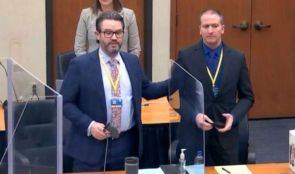PHOTO: Defense attorney Eric Nelson and defendant, former Minneapolis police officer Derek Chauvin, introduce themselves to potential jurors  in Minneapolis, March 23, 2021. (Court TV via AP, FILE)