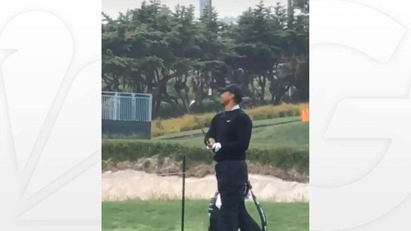 Woods gets in U.S. Open prep at cold, rainy Pebble Beach