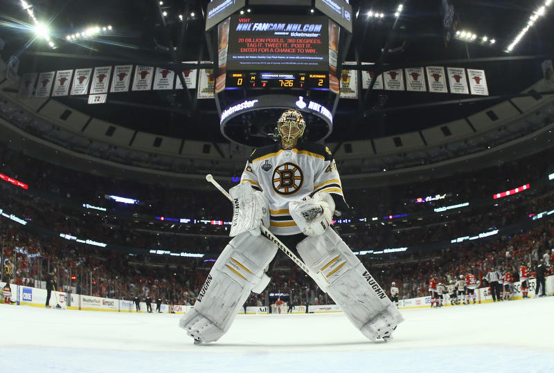 Boston Bruins goalie Tuukka Rask (40) skates back to the crease after a goal by the Chicago Blackhawks in the second period during Game 5 of the NHL hockey Stanley Cup Finals, Saturday, June 22, 2013, in Chicago. The Blackhawks won 3-1. (AP Photo/Bruce Bennett, Pool)