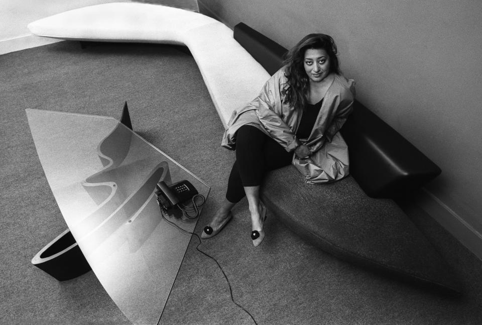 Iraqi architect Zaha Hadid in her London office, 1985. (Photo: Christopher Pillitz/Getty Images)