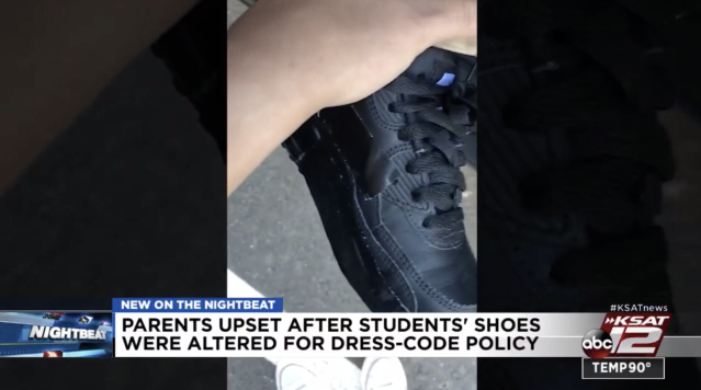 Students at Harvey E. Najim school in Texas had their shoes duct-taped or colored over with a permanent marker for breaking dress code. (Screenshot: KSAT 12)