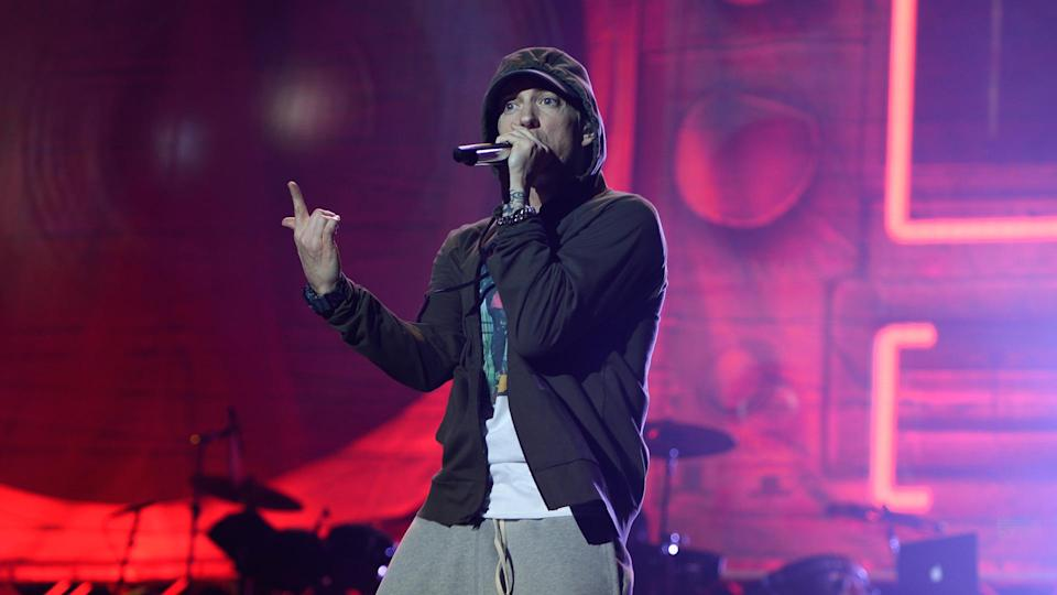 CHICAGO, IL - AUGUST 01:  Eminem performs at Samsung Galaxy stage during 2014 Lollapalooza Day One at Grant Park on August 1, 2014 in Chicago, Illinois.
