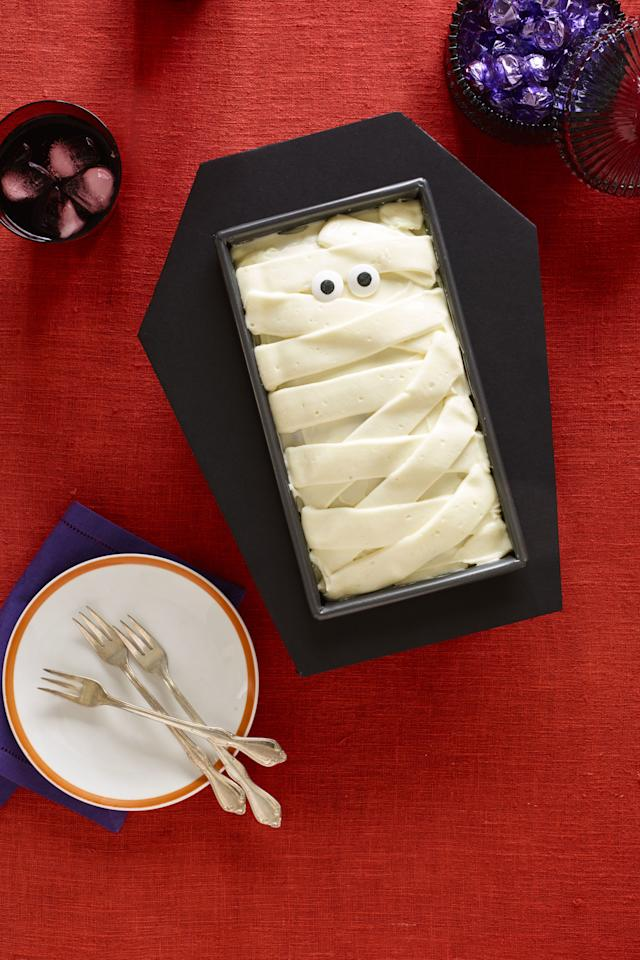 "<p>A cake so festive you almost don't want to eat it. Emphasis on the almost. And you can wrap up the decadent red velvet cake in a foamboard coffin using this <a rel=""nofollow"" href=""http://www.womansday.com/home/crafts-projects/g3200/halloween-2017-templates/"">free template</a>.</p><p><strong><a rel=""nofollow"" href=""http://www.womansday.com/food-recipes/food-drinks/recipes/a60153/coffin-cake-recipe/"">Get the recipe</a>.</strong><br></p><p><br></p>"