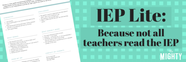 IEP Lite because not all teachers read the IEP, green background with a document that looks like a resume