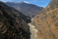 An aerial view shows Dhauliganga river flowing in Chamoli district