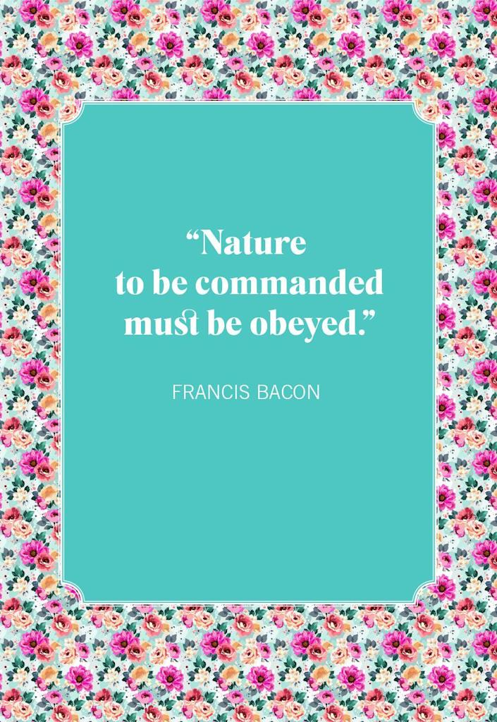 """<p>""""Nature to be commanded must be obeyed.""""</p>"""