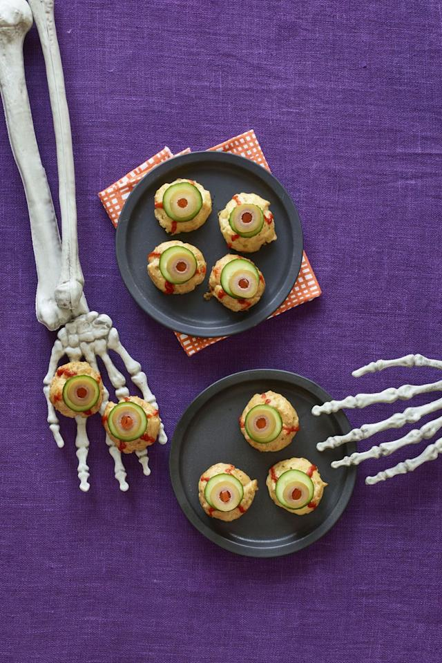 """<p>These cheesy pastry puffs will be the most app-<em>eye</em>-tizing item on your table this Halloween.</p><p><strong><a rel=""""nofollow"""" href=""""https://www.womansday.com/food-recipes/recipes/a60165/bitesize-eyeballs-recipe/"""">Get the recipe.</a></strong></p><p><strong>RELATED:</strong> <a rel=""""nofollow"""" href=""""https://www.womansday.com/food-recipes/food-drinks/g1289/halloween-treat-ideas/"""">Creepy Halloween Treats You'll Love</a></p>"""