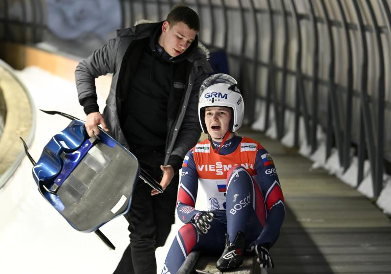 Russia's Yekaterina Katnikova reacts during the team relay race at the Luge World Cup the World Cup luge relay event in Krasnaya Polyana, near the Black Sea resort of Sochi, southern Russia, Sunday, Feb. 16, 2020. (AP Photo/Artur Lebedev)