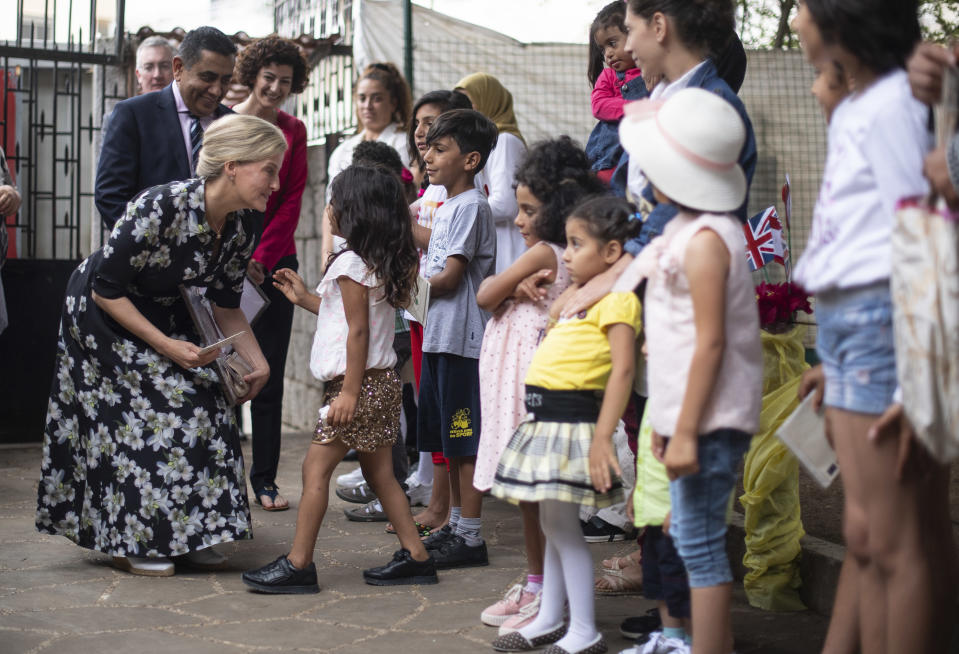 BEIRUT, LEBANON - JUNE 13:  Sophie, Countess of Wessex meets refugee women, young people and children at a Caritas Lebanon shelter which supports victims of sexual and gender-based violence, during the first official Royal visit to the country on June 13, 2019 in Beirut, Lebanon. (Photo by Victoria Jones - Pool/Getty Images)
