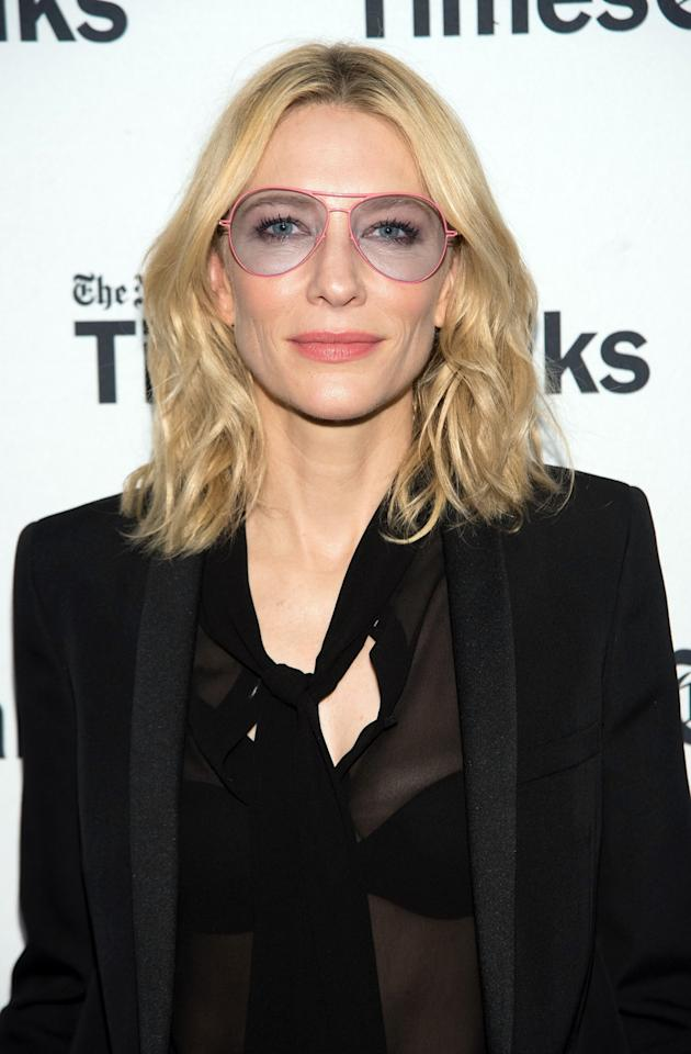 <p>The <i>Truth </i>actress was seen all over New York this week promoting her newest film in a pair of this slick aviators from the Italian luxury brand. <i>Photo: Getty Images</i></p>