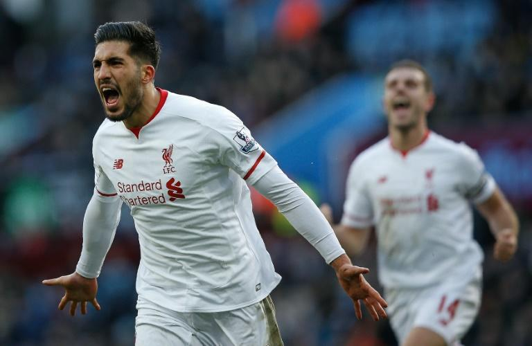 Liverpool's midfielder Emre Can celebrates scoring a goal during the English Premier League football match between Aston Villa and Liverpool at Villa Park in Birmingham, England on February 14, 2016