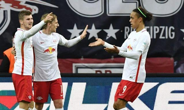 Timo Werner (l.) soll ebenso auf Liverpools Liste stehen wie Emil Forsberg (M.) (Foto: Getty Images)