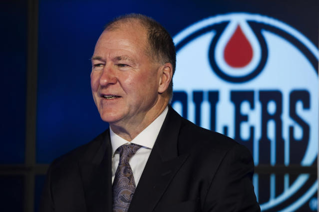 FILE - In this Sunday, Dec. 10, 2017, file photo, Kevin Lowe speaks to the media about the upcoming NHL Centennial Greatest Team celebration hockey game and being voted the greatest team of all time in Toronto. Lowe has been elected to the Hockey Hall of Fame's class of 2020. (Christopher Katsarov/The Canadian Press via AP, File)
