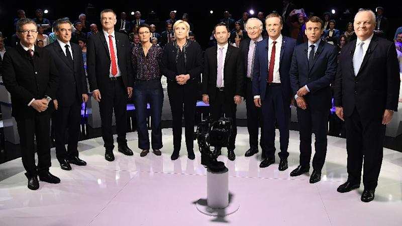 Ten of the eleven candidates before the debate -- autoworker Philippe Poutou refused to take part in the family photo (AFP Photo/Lionel BONAVENTURE)